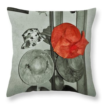 The Red Hat Throw Pillow by Jean Goodwin Brooks
