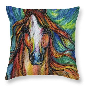 The Red Horse Throw Pillow by Angel  Tarantella