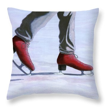 The Red Ice Skates Throw Pillow