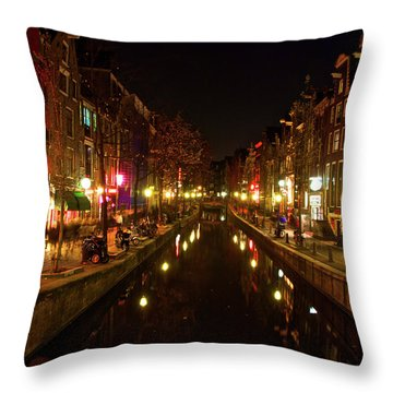 The Red Lights Of Amsterdam Throw Pillow