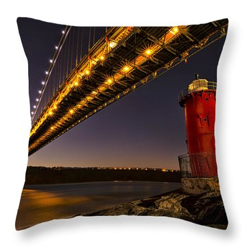 The Red Little Lighthouse Throw Pillow