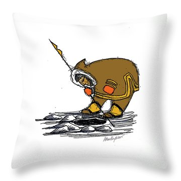 The Red Mittens Throw Pillow