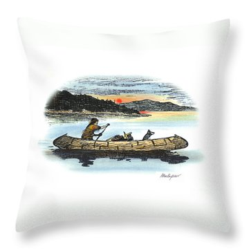 The Red Paint People Arrive Throw Pillow