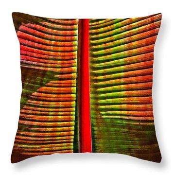 The Red Palm Throw Pillow by Joseph J Stevens