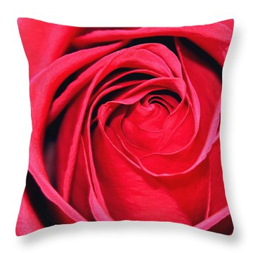 The Red Rose Blooming Throw Pillow by Karon Melillo DeVega