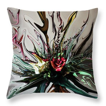 The Red Rose Throw Pillow by Ella Char