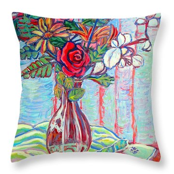 The Red Rose Throw Pillow by Kendall Kessler