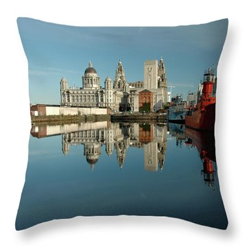 The Red Ship Throw Pillow by Jonah  Anderson
