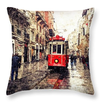 The Red Tram 2 Throw Pillow
