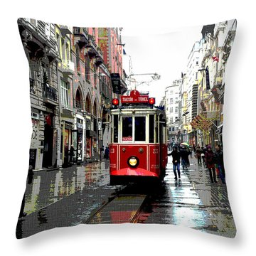 The Red Tram Throw Pillow