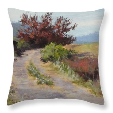 The Red Tree Throw Pillow by Karen Ilari