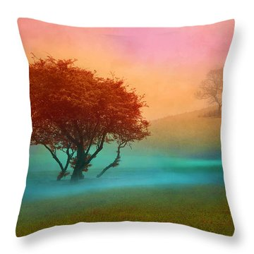 Throw Pillow featuring the digital art The Red Tree by Nina Bradica