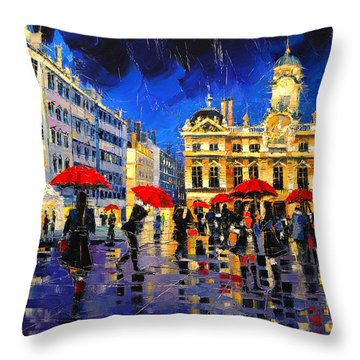 The Red Umbrellas Of Lyon Throw Pillow