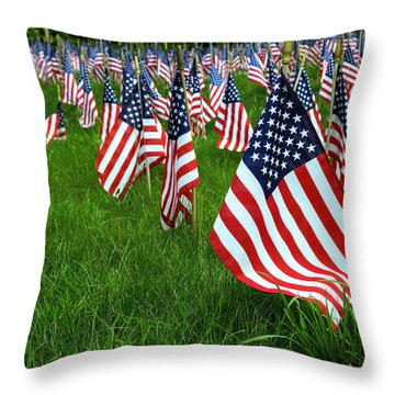 The Red White And Blue  American Flags Throw Pillow by Donna Doherty