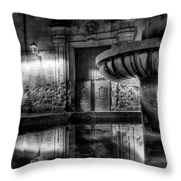 Throw Pillow featuring the photograph The Reflection Of Fountain by Erhan OZBIYIK