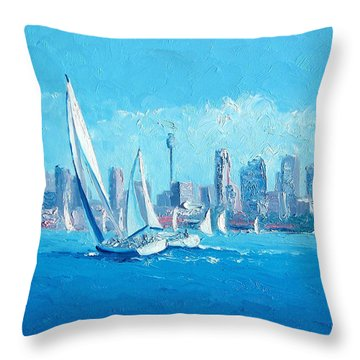 The Regatta Sydney Habour By Jan Matson Throw Pillow by Jan Matson