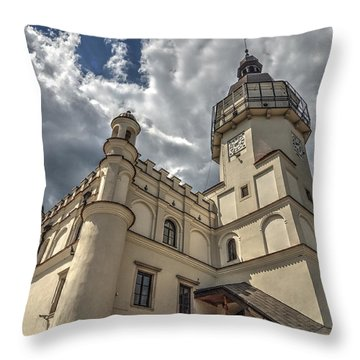 Throw Pillow featuring the photograph The Renaissance Town Hall In Szydlowiec In Poland Seen From A Different Perspective by Julis Simo