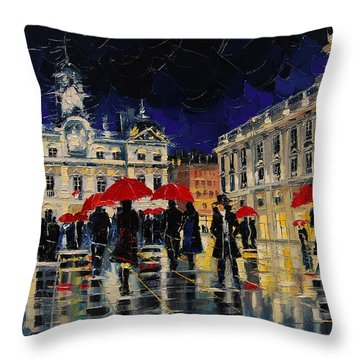 The Rendezvous Of Terreaux Square In Lyon Throw Pillow
