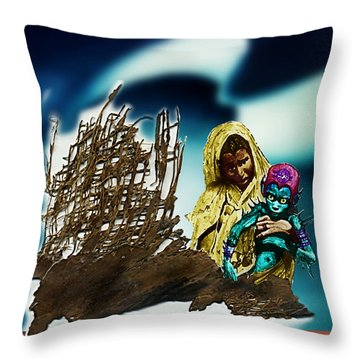 The Rescued  Alien  Child Throw Pillow by Hartmut Jager
