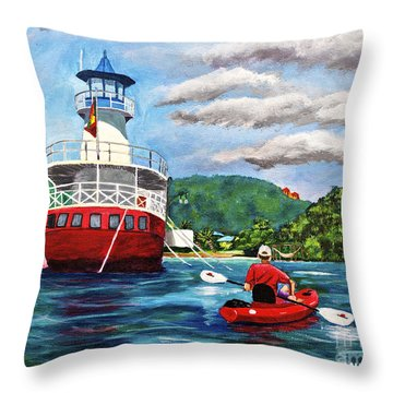 Out Kayaking Throw Pillow