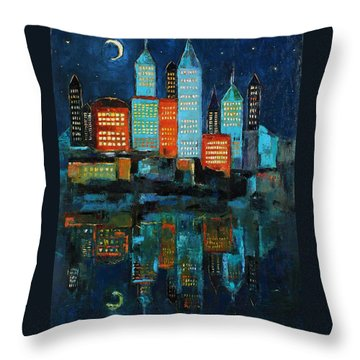 Throw Pillow featuring the painting The Restless Moon by Becky Kim