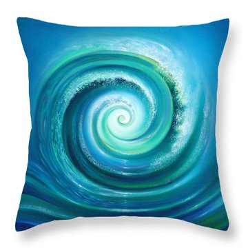 Throw Pillow featuring the painting The Return Wave by Anna Ewa Miarczynska
