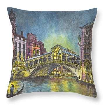 Relections Of Light And The Rialto Bridge An Evening In Venice  Throw Pillow