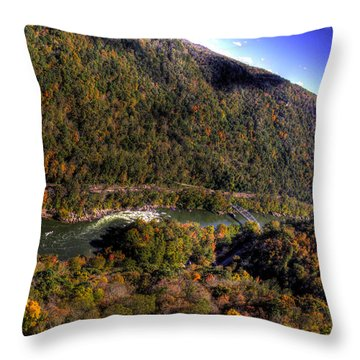 Throw Pillow featuring the photograph The River Below by Jonny D