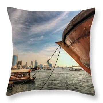 The River Of Dubai Throw Pillow