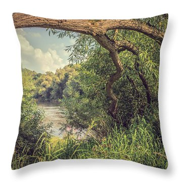 The River Severn At Buildwas Throw Pillow by Amanda Elwell