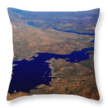 The River Winds Throw Pillow by Natalie Ortiz