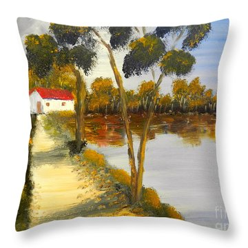 Throw Pillow featuring the painting The Riverhouse by Pamela  Meredith