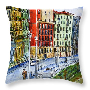The Riverside Houses At Bilbao La Vieja Throw Pillow by Zaira Dzhaubaeva