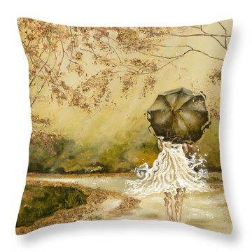 The Road Throw Pillow by Karina Llergo