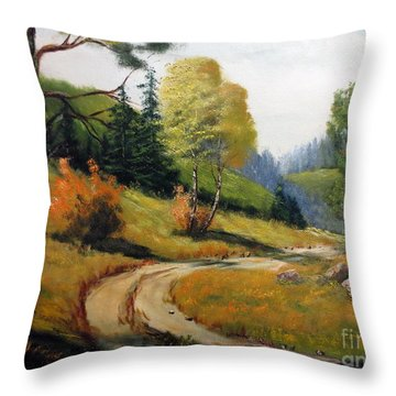 The Road Not Taken Throw Pillow by Lee Piper