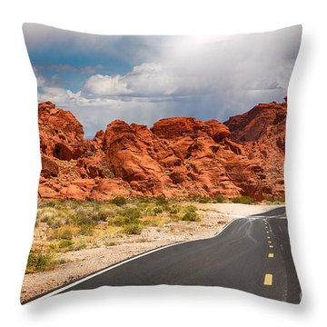 The Road To The Valley Of Fire Throw Pillow by Jane Rix