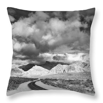 The Road To Turtlehead Peak Las Vegas Strip Nevada Red Rock Canyon Mojave Desert Throw Pillow by Silvio Ligutti