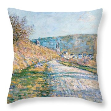 The Road To Vetheuil Throw Pillow