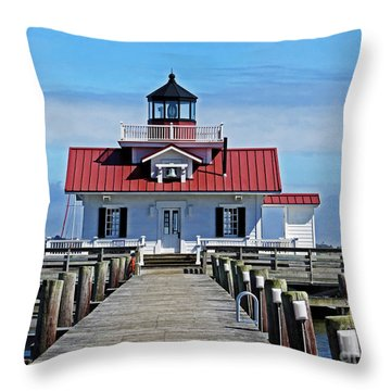 The Roanoke Marshes Lighthouse  Throw Pillow