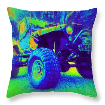 The Rock Crawling Jeep Throw Pillow by Myrna Bradshaw
