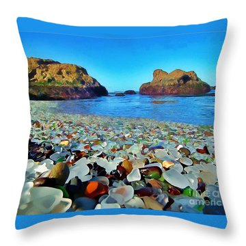 Glass Beach In Cali Throw Pillow