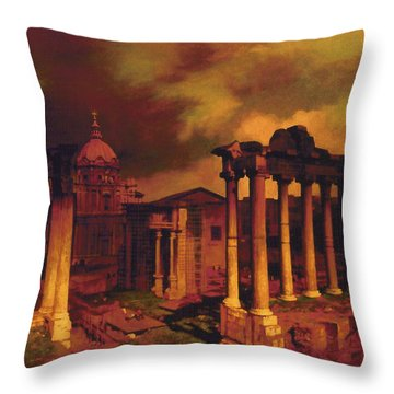The Roman Forum Throw Pillow by Blue Sky
