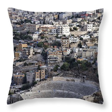 The Roman Theatre In The Middle Of The City Of Amman Jordan Throw Pillow by Robert Preston