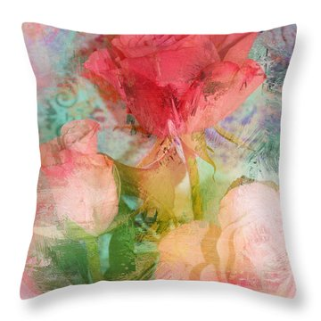 The Romance Of Roses Throw Pillow by Carla Parris