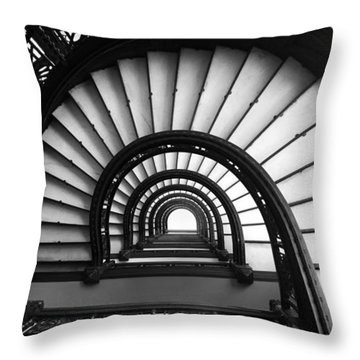 The Rookery Staircase In Black And White Throw Pillow