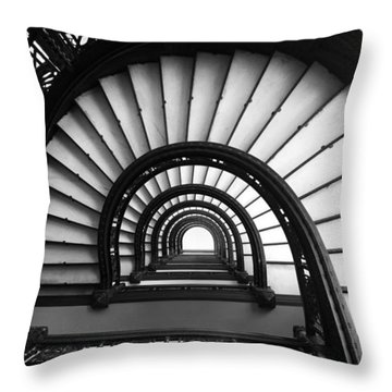 Throw Pillow featuring the photograph The Rookery Staircase In Black And White by Kelly Hazel
