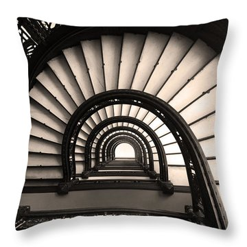 Throw Pillow featuring the photograph The Rookery Staircase In Sepia Tone by Kelly Hazel