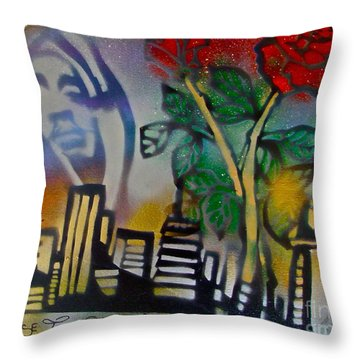 The Rose From The Concrete Gold Throw Pillow by Tony B Conscious