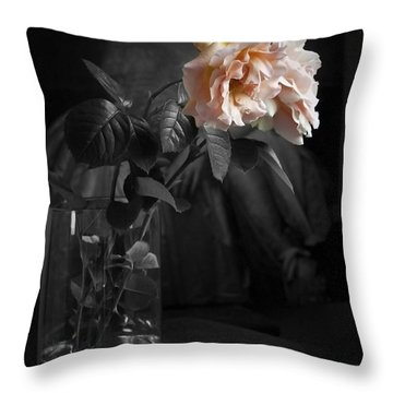 The Rose Grew Pale And Left Her Cheek Throw Pillow by Theresa Tahara