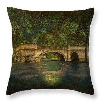 The Rose Pond Bridge 06301302 - By Kylie Sabra Throw Pillow